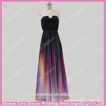RP0040 Real notched neckline pleated chiffon western gowns party colorful evening dress gradient color prom dress