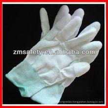 White PU white nylon inspection gloves