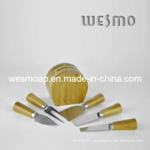 Juego de cuchillos de queso de bambú
