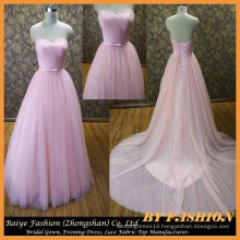 2017 Ball Gown Wedding Dresses Heart Neck White and Pink Bridal Gowns BYB-14611