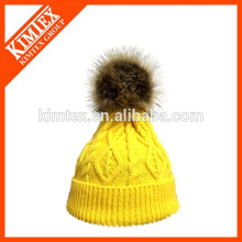 Hot sale knitted custom acrylic beanie hat with fake fur on top