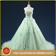 ASAP-16 Real Photos Off the Shoulder Beaded Handmade Flowers Lace-up Back Long Mint Green Evening Dresses