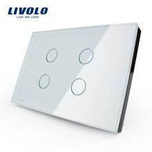 Livraison gratuite US Touch Light Switch 110 ~ 250V Interrupteur électrique 2 gangs avec indicateur LED VL-C304-81