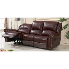 Brown 3 Seater Leather Recliner Sofa (D1020)