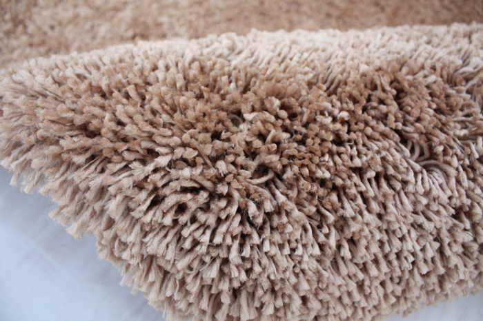 Microfiber Polyester Shaggy Rug Beige Color