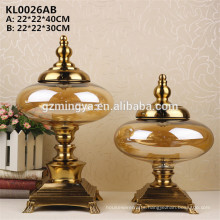 Wedding souvenir glass crafts for home decoration royal yellow glass bottle with metal holder