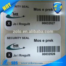 quente! Etiqueta / etiqueta de papel de segurança