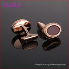 Boutons de manchette ovales en pierre naturelle plaqué or rose L51920