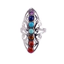 New Hollow Strass Copper Healing Chakra Stone Open verstellbare Ringe