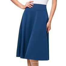 Kate Kasin Occident Women's High Stretchy Yale Blue Cotton High Waist A-line Flared Skirt KK000279-4