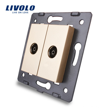 Livolo Manufacture Electric Gold Wall Socket Accessory The Base of TV Outlet VL-C7-2V-13