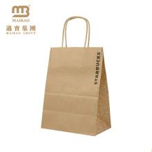La machine a fait la coutume imprimée à la main pas cher empaquetant des sacs en papier d'emballage de Brown avec la poignée