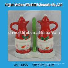 2016 diseño popular botella de aceite de cerámica, botella de vinagre de cerámica en forma de muñeco de nieve