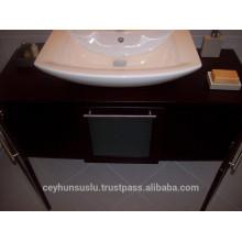 Wenge Furnierte Badezimmer Eitelkeit mit hölzernem Arbeitsplatte mit verglasten Schiebetür
