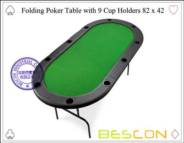 Folding Poker Table with 9 Cup Holders 82 x 42-2