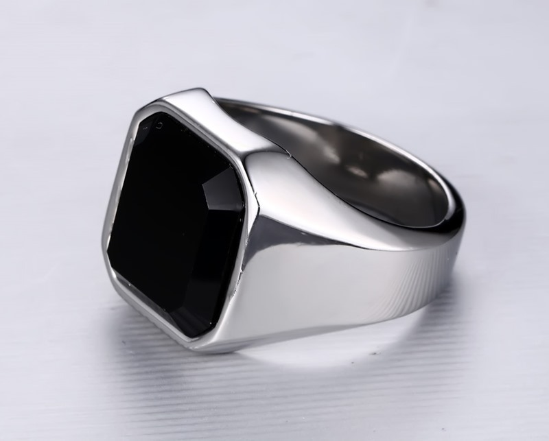 Vintage Personalized Jewelry Men Black Onyx Ring
