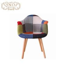 Heiße Verkäufe Patchwork Stoffbezug Freizeit Kunststoff Freizeit Holz Stoff Esszimmer Sessel