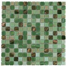 Soulscrafts Square Gold Line Glass Mosaic for Swimming Pool Tile