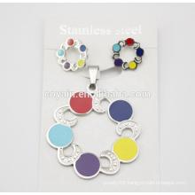 Newest fashion Enamel Flower girl dress elegant flower rainbow jewelry set