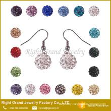 AAA CZ Stone Crystal Paved Hook Shamballa Earring Studs