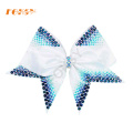 Gradient blue heat press rhinestone cheer bow transfer