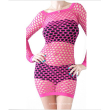 Sexy Ladies Seamless Knitted Mesh Long Sleeve Dresses