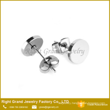 316L Stainless Steel Silver Black Plated Round Disc Earring Studs
