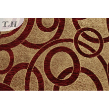 Red Chenille Furniture Fabric with Circle Pattern