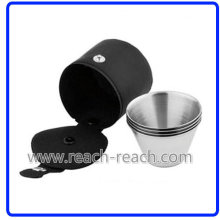 Stainless Steel Shot Glass Match Hip Flask Sets (R-HF051)