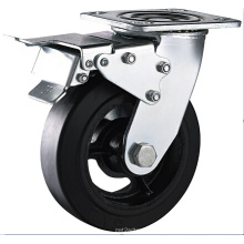 Heavy Duty Caster, Castors with Rubber Mold on Cast Iron, Roller Bearing