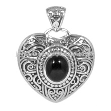 Designer Black Onyx Gemstone 925 en argent sterling Bijoux en forme de coeur