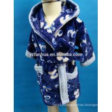 Boy's Hooded Navy Blue Coral fleece bathrobe for Winter Warm Wear