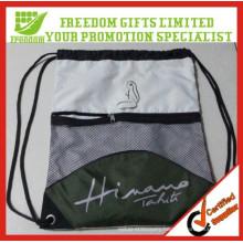 Promotion Personized Factory Price Logo Printed Polyester Mesh Drawstring Bag