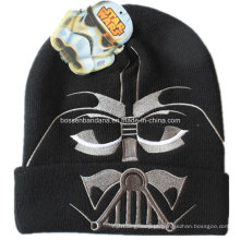 OEM Produce Customized Design Bordado Esqui Esportes Hat Acrílico Knit Black Beanie Hat