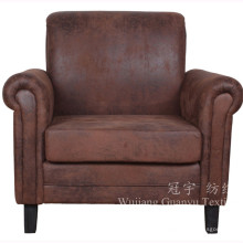 Poliéster de camurça bronzeado tecido de couro falso para sofás em casa