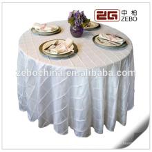 100% Polyester Uni Gewebe Kundenspezifische 120 runde weiße Tischdecke