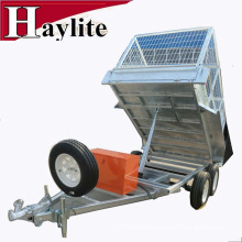 hot dip galvanized tandem tipping trailer with cage box