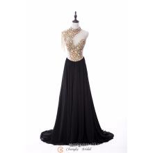 2017 nuevos granos cristalinos del vestido de noche de la alta calidad del estilo consideran a través los vestidos de partido de la gasa