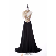 2017 New Style High Quality Evening Dress Crystal Beads See Through Chiffon Party Dresses