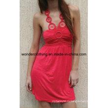 Платье с оборками на груди и отделкой вдоль декольте мода сексуальные женщины платье
