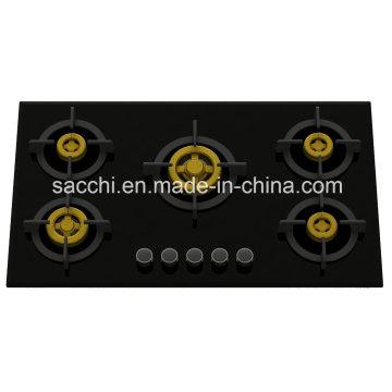 Supreme Five Brass Burner Gas Hob (8mm Glass)