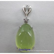 Prehnite argent pendentif bijoux de mode (GP01298)