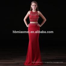 Vente chaude rouge couleur 2 pcs ensemble sirène robe de soirée lourde perles sexy fille rouge couleur demoiselle d'honneur robe en gros