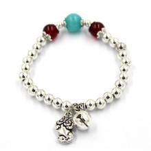 Bracelets en argent flexibles de 6 cm avec des perles de fleurs et de la cloche
