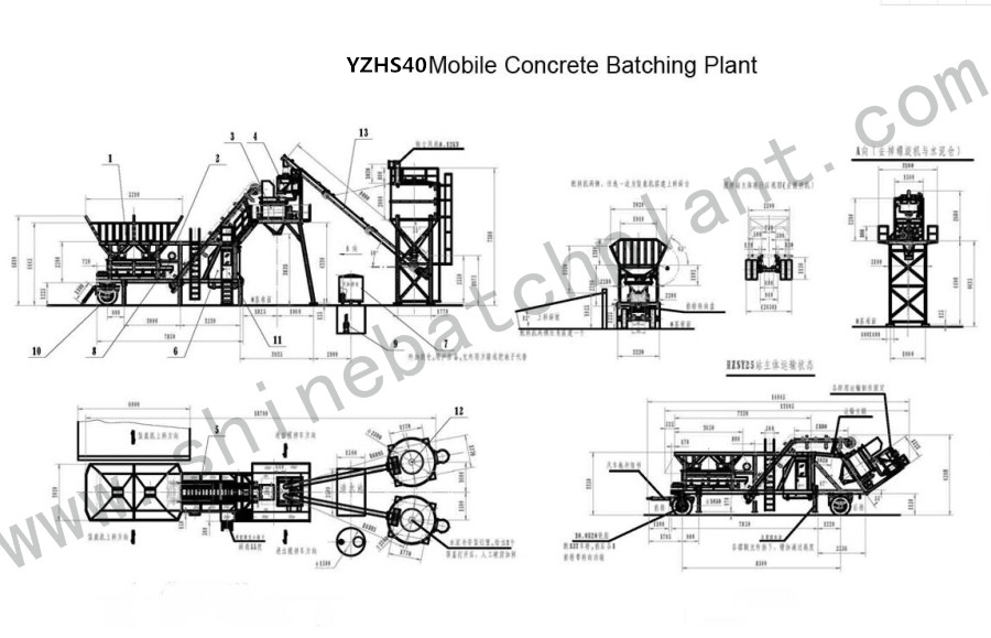 Drawing Mobile Batch Plant 40