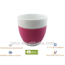 300cc Set von 2 Bauchform Keramik Geschenkbecher mit Silikonband