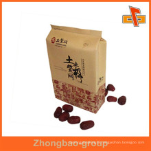 Flexo printing moisture proof heat seal side gusset kraft paper bag for red dates