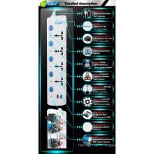 Branchements électriques et douilles de protection contre les surtensions avec commutateurs individuels