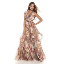 Vestido de seda impreso digital de la tela de la gasa, ropa de seda, ropa