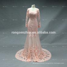 ED Bridal Prom Dress Mermaid Sexy Orange Long Sleeve Lace Applique with Beading